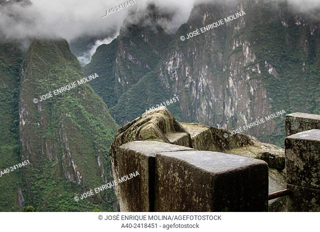 Archaeological site of Machu Picchu, Cusco, Peru. View from the Temple of the Sun