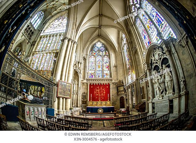 Fish eye view of interior of York Minster showcasing the All Saints Chapel, York, Yorkshire, United Kingdom
