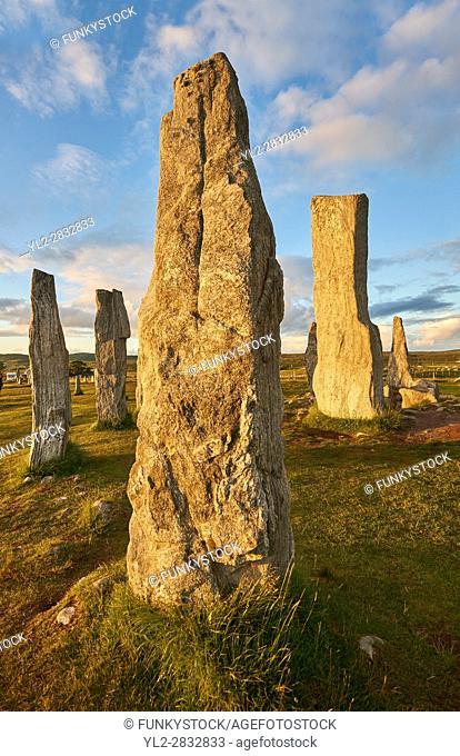Monolith of Calanais Neolithic Standing Stone (Tursachan Chalanais) , Isle of Lewis, Outer Hebrides, Scotland