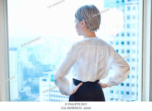 Rear view of businesswoman, hands on hips, looking out of window