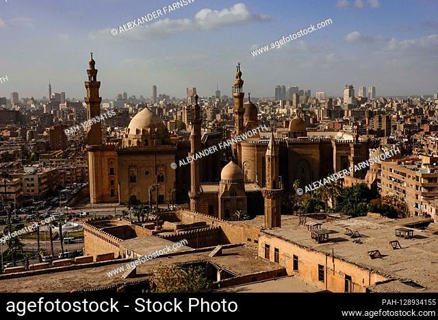 Cairo, Egypt The Masjed Almahmodyah mosque and minaret. | usage worldwide. - Cairo/Egypt