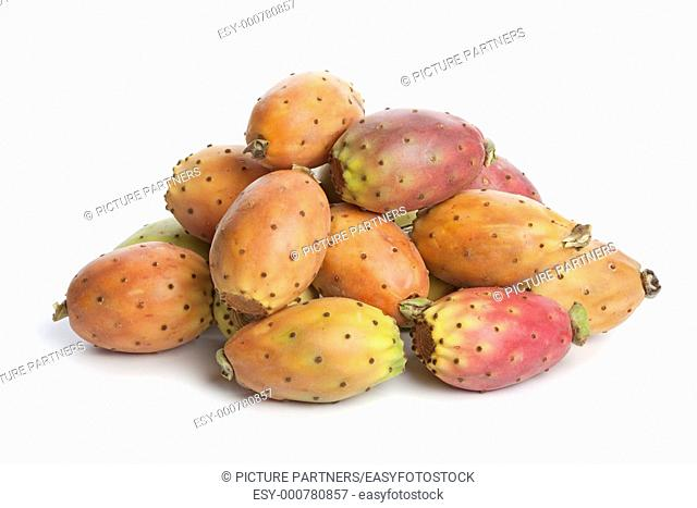 Whole prickly pears on white background