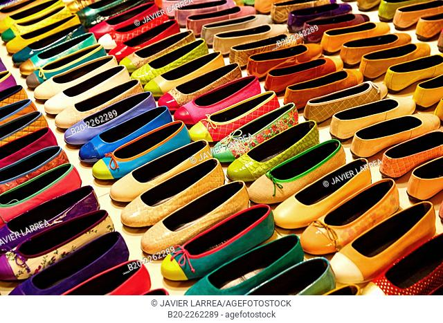 Shoe store. Flat shoes. Ballet flats. Barcelona. Catalonia. Spain