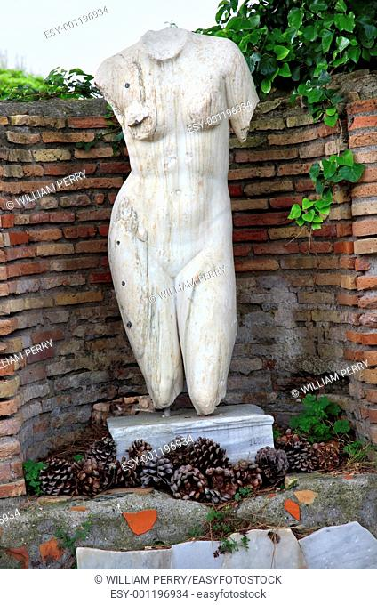 Ancient Roman NUde Woman Statue Ostia Antica Ruins Rome Italy Excavation of Ostia, ancient Roman port, next to airport  Was port for Rome until 5th Century AD