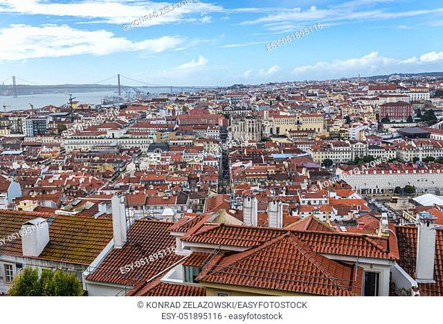 Cityscape of Lisbon, Portugal seen from Castelo de Sao Jorge viewing point