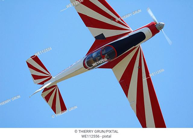Czechoslovak aerobatic plane Zlin 526 into a roll