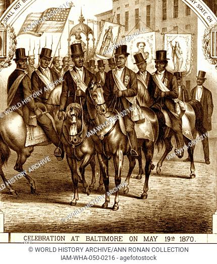 celebration in Baltimore of the enactment of the Fifteenth Amendment. (See also nos. 1870-2 and 1870-3.) A group of black men, on horseback and wearing top hats