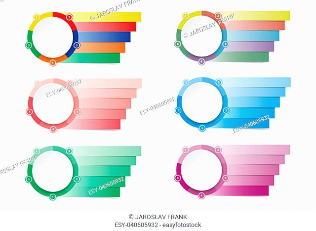 Set of colorful modern infographic labels as a a circle divided into five sections and rectangles ready for your text. Made as colorful