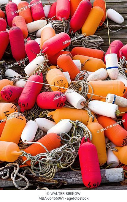 USA, Massachusetts, Cape Ann, Gloucester, Annisquam, lobster buoys