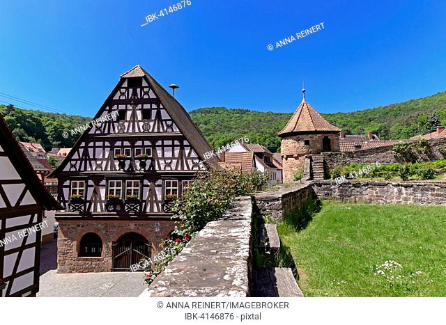 Half-timbered town hall with fortified church, Dörrenbach, Palatinate, Rhineland-Palatinate, Germany