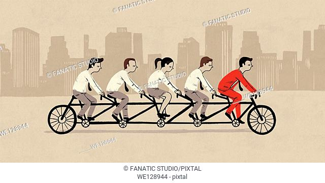 Illustrative image of businesspeople riding tandem bicycle representing teamwork
