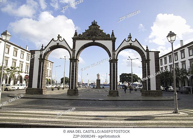 Portas da Cidade (old town gates) de Ponta Delgada, Ponta Delgada, Sao Miguel island, Azores archipelago, Portugal