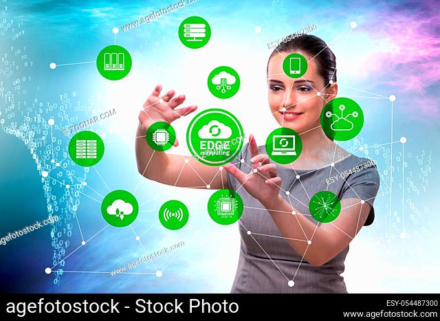 The businessman in edge and fog computing concept