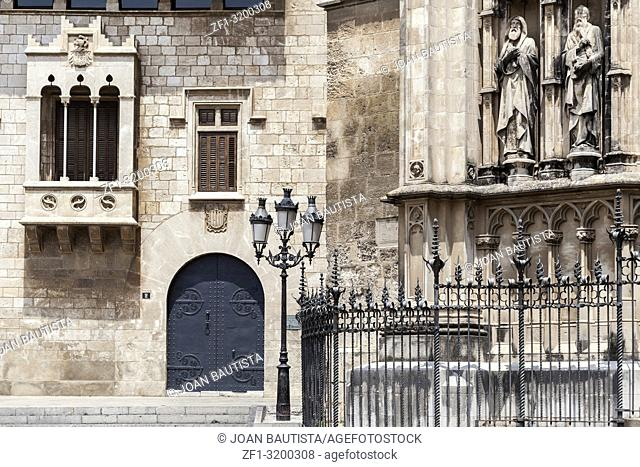 Ancient buildings, historic center, church and gothic style Palace Balta, Catalonia