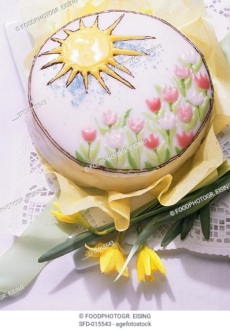Decorated spring cake with iced tulips and sun (1)