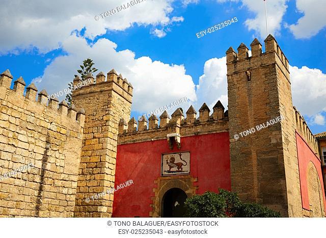 Seville Real Alcazar fortress door Sevilla Andalusia Spain