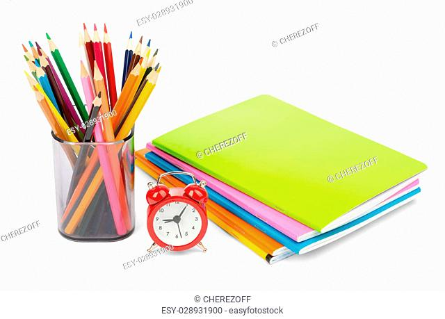 Pencil cup with crayons on isolated white background