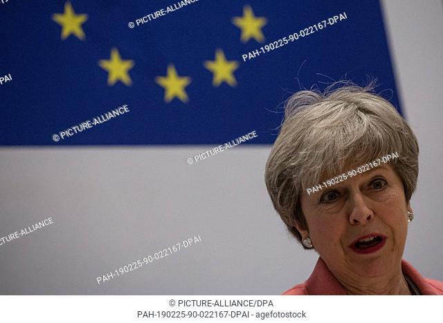 25 February 2019, Egypt, Sharm El-Sheikh: British Prime Minister Theresa May speaks during a press conference at the end of the European Union (EU) and League...