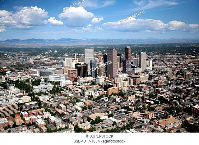 Denver's Civic Center District, Uptown District and Upper Downtown with central downtown skyline