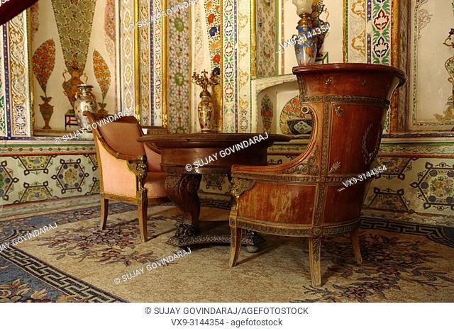 Bukhara, Uzbekistan - August 28, 2016: Interiors of Sitorai Mokhi Khosa Palace, a residence of Amir of ancient Bukhara