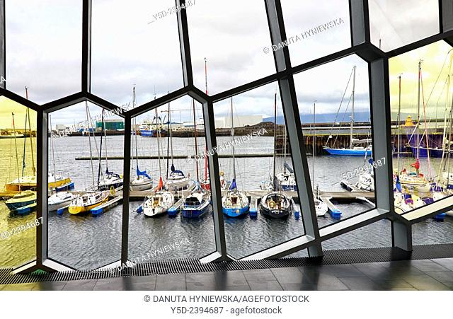 view for harbour from interior of Harpa Concert Hall and Conference centre building, designed by Hennin Larsen and Batteríið Architects
