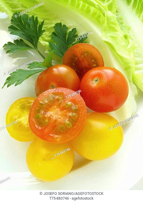 Salad of lettuce, tomatoes and parsley