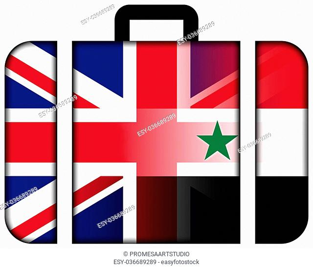 Suitcase with Syria and UK Flag