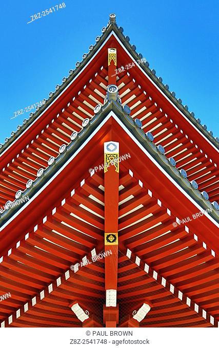 Painted wooden roof beams at Asakusa Jinja Shinto Shrine, Tokyo, Japan