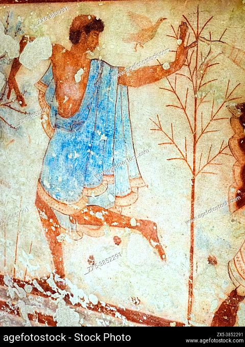 Fresco painted wall detail in Tomba del Triclinio (. Tomb of the Triclinium) 5th century BC - Tarquinia National Archaeological Museum, Italy