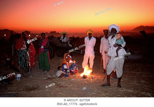 Camp Fire at the Pushkar Festival Rajasthan India asia horizontal people groups mood