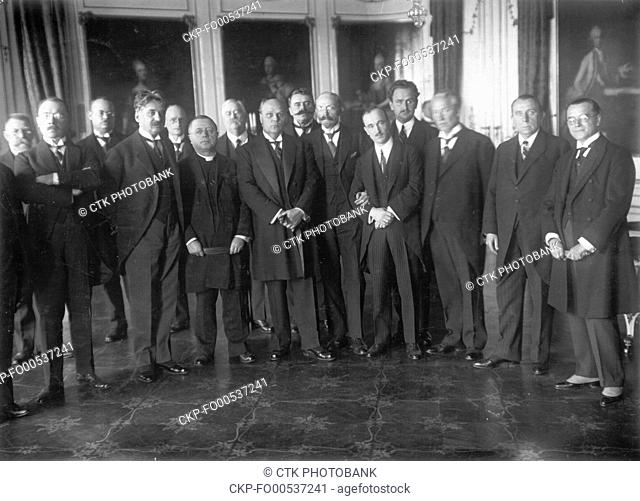Prime Minister of Czechoslovakia Antonin Svehla, center, poses with members of the Czechoslovakia Government in Prague, Czechoslovakia, 1925