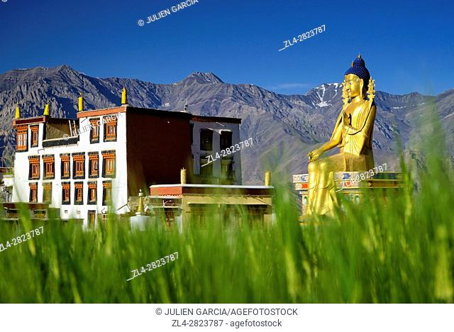 India, Jammu and Kashmir State, Himalaya, Ladakh, Indus valley, Buddhist monastery of Likir and the 23m-high statue of Maitreya Buddha (future Buddha)