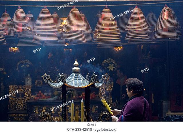 Interior of the historical Man Mo Temple at Taiwo, Taipo, Hong Kong