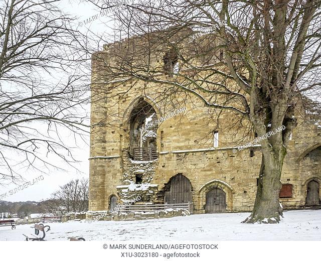 The Kings Tower at Knaresborough Castle in Winter Knaresborough North Yorkshire England