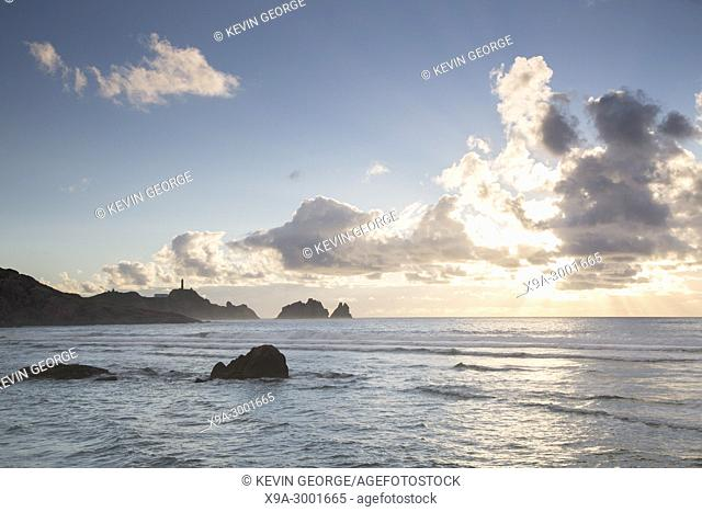 Vilan Point Lighthouse; Costa de la Muerte; Galicia; Spain at Sunset
