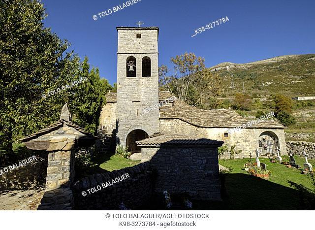 iglesia de . Nerín, . Edificio Religioso Fortificado, Huesca, Aragón, cordillera de los Pirineos, Spain