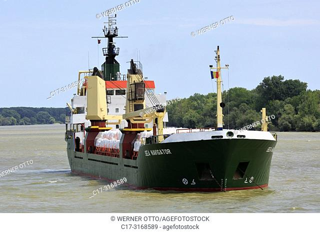 Tulcea, Danube navigation, ship Sea Navigator on the Saint George Branch of the Danube near Tulcea, river landscape, Romania, Tulcea County, Dobrudja