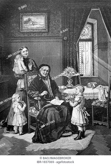 Children wishing their grandmother a happy birthday, historical illustration circa 1893