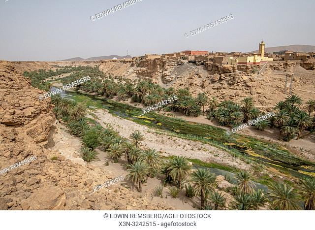 A river brings life and vibrancy to the area surrounding the town of Akka N'Ait Sidi, Tata Province, Souss-Massa, Morocco. Akka N'Ait Sidi