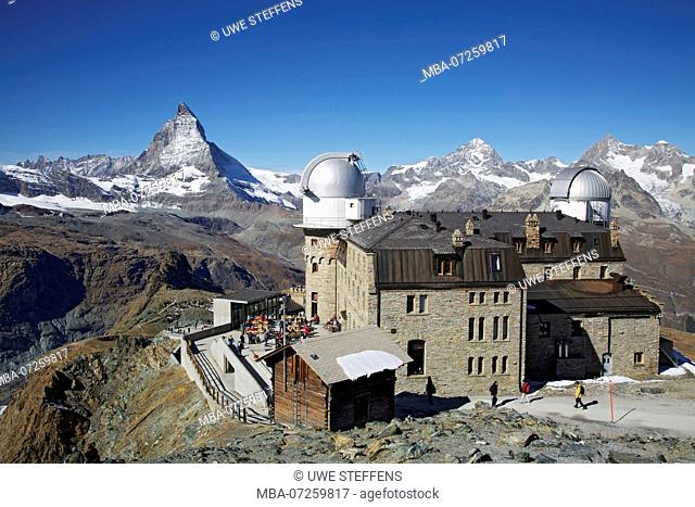 Hotel and observatory on the Gorner ridge near Zermatt. View of Matterhorn, Dent Blanche and Obergabelhorn