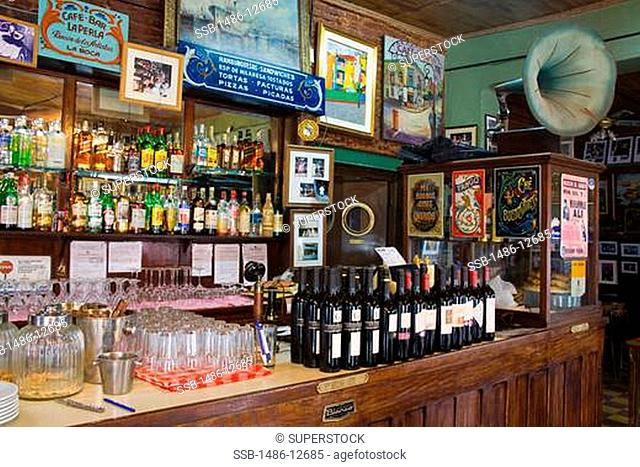 Bar counter of a restaurant, La Perla Restaurant And Bar, La Boca, Buenos Aires, Argentina