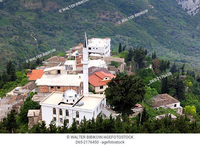 Albania, Vlora-area, Kanina village, elevated view