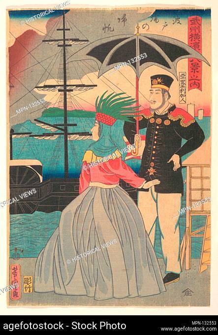 Hatoba no kihan/Returning Sails at the Wharves [American couple]. Artist: Utagawa Yoshitora (Japanese, active ca. 1850-80); Period: Edo period (1615-1868);...