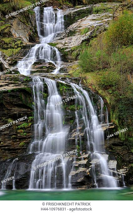 Faido, Cliff, rock, cliff wall, river, flow, autumn, colors, autumn, foliage, cascade, cascades, Switzerland, Europe, steps, Ticino, water, flow, yellow, clear