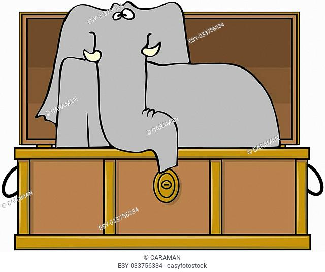 This illustration depicts an elephant sitting upright in a shipping trunk