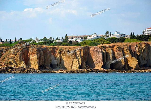 Cliffs Baleeira, Albufeira in the Algarve Portugal