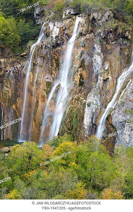 Croatia - Plitvice Lakes National Park, The Big Waterfall, Veliki Slap, Plitvice Lakes protected area in central Croatia