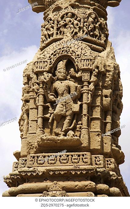 Carving details of the ruins of Kirti Toran, Vadnagar, Gujarat, India