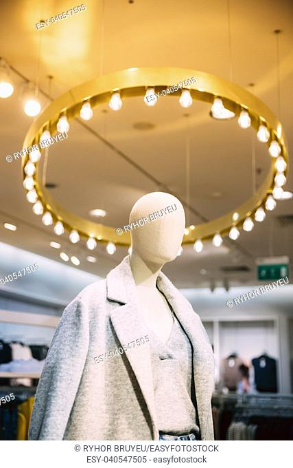 Close View Of Mannequin Dressed In Female Woman Casual Clothes In Store Of Shopping Center