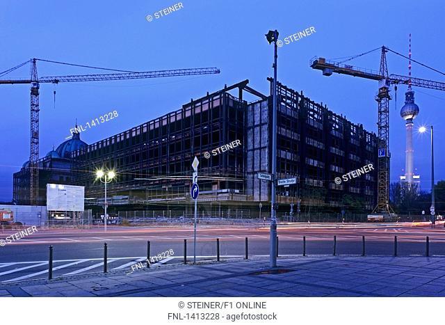 Cranes at construction site, Palast der Republik, Berlin Cathedral, Alexanderplatz, Berlin, Germany